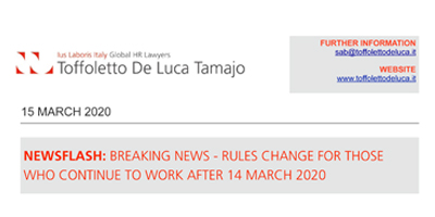 Rules change for those who continue to work after 14 March 2020