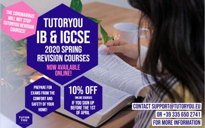TutorYou ONLINE Spring IB & IGCSE Revision Courses