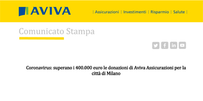 Coronavirus: superano i 400.000 euro le donazioni di Aviva Assicurazioni per la città di Milano