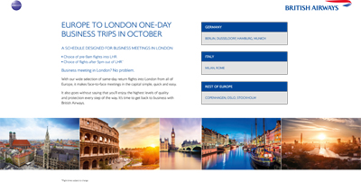BRITISH AIRWAYS: Europe to London one-day business trips in October
