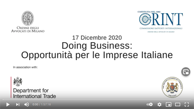 Recording available – Doing Business Opportunità per le Imprese Italiane – 17 December 2020