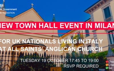 Town Hall meeting for UK Nationals Living in Italy – 19 October, 5:45pm to 7:00pm in Milan